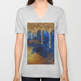 Gold Rain on Indigo Marble Unisex V-Neck