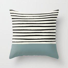 River Stone & Stripes Throw Pillow