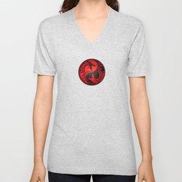 Yin Yang Dragons Red and Black Unisex V-Neck