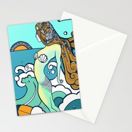 Surfing Mermaid  Stationery Cards