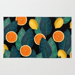 Lemons And Oranges On Black Rug