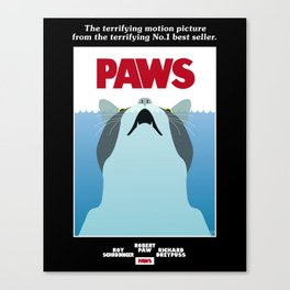 PAWS - Spoof movie poster inspired by classic cult horror film JAWS Canvas Print