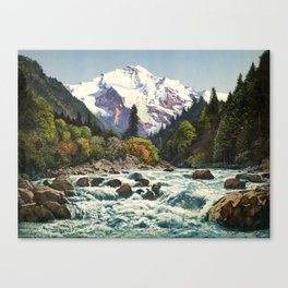 Mountains Forest Rocky River Canvas Print
