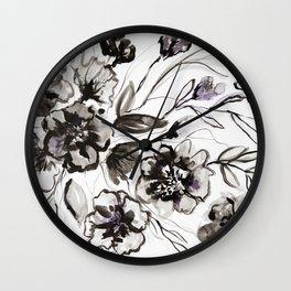 Ink Flowers Wall Clock
