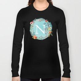 Personalized Monogram Initial Letter N Blue Watercolor Flower Wreath Artwork Long Sleeve T-shirt