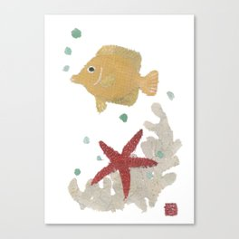 Angelfish, Starfish, Sea Creatures  Canvas Print