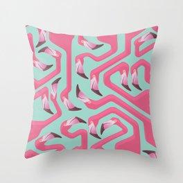 Flamingo Maze on beach glass background. Throw Pillow