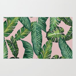 Jungle Leaves, Banana, Monstera II Pink #society6 Rug