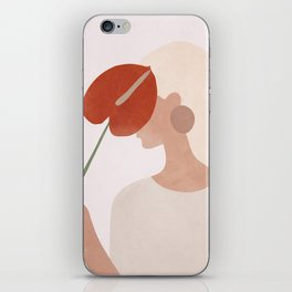 Lady with a Red Leaf iPhone Skin
