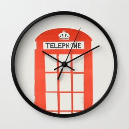 Red London Telephone Box Wall Clock