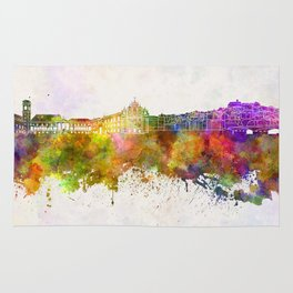 Coimbra skyline in watercolor background Rug