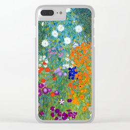 Gustav Klimt Flower Garden Clear iPhone Case