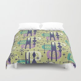 Retro Atomic Mid Century Pattern Blue Green Purple and Turquoise Duvet Cover