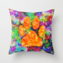Dog Paw Print Watercolor Throw Pillow