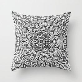 Circle of Life Mandala Black and White Throw Pillow