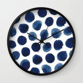 Watercolor polka dots Wall Clock