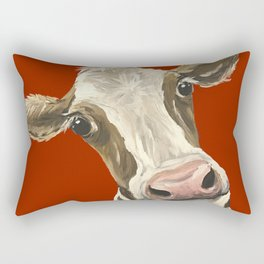 Cute Cow Painting, Red Cow Painting Rectangular Pillow
