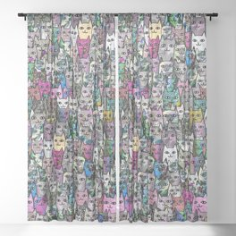 Gemstone Cats CYMK Sheer Curtain
