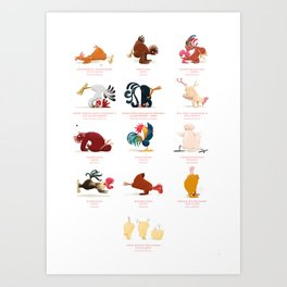 Chicken Yoga Art Print