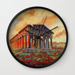 Paestum ancient Greek temple Wall Clock