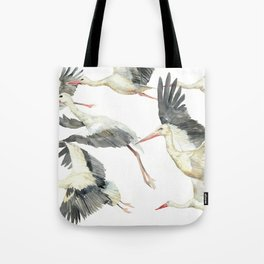 Storks Flying Away, The Last Day of Summer, Flock of Birds Tote Bag