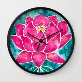 Sacred Lotus – Magenta Blossom with Turquoise Wash Wall Clock