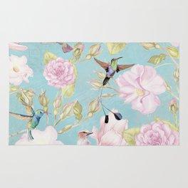 Pastel Teal Vintage Roses and Hummingbird Pattern Rug