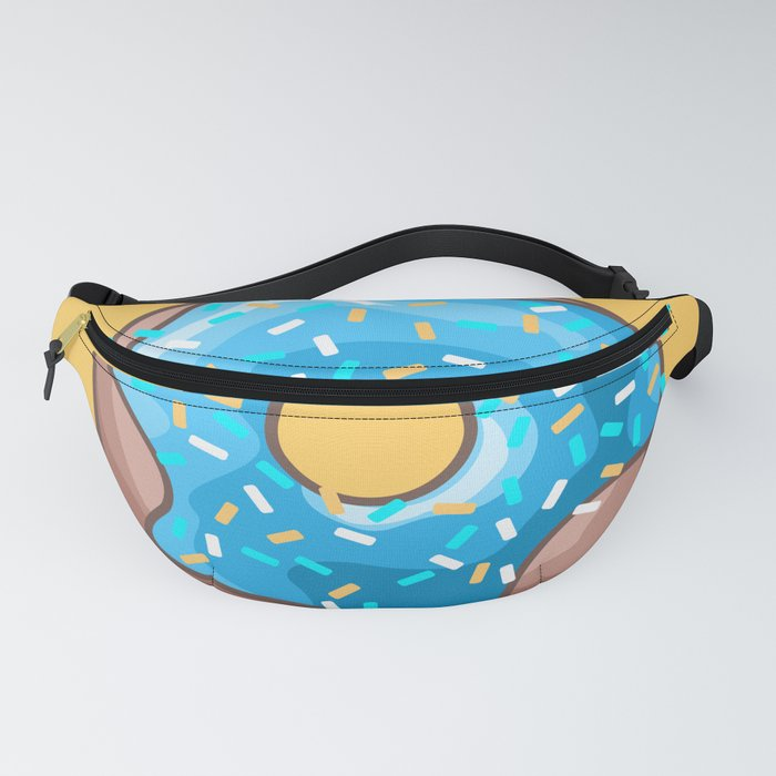 Blue Donut on Yellow Background Fanny Pack
