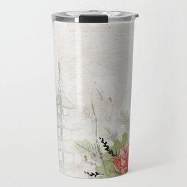 Ink Sketch Pagoda and Red Flowers Travel Mug
