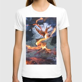 black white and flame T-shirt