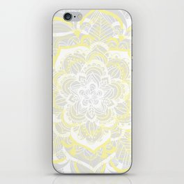 Woven Fantasy - Yellow, Grey & White Mandala iPhone Skin