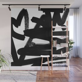 Thinking Out Loud - Black and white abstract painting, raw brush strokes Wall Mural