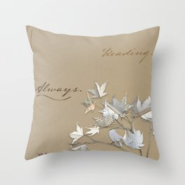 In love with reading - collage of leaves from old book pages Throw Pillow