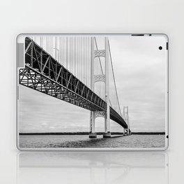 Mackinac Bridge, black and white photography Laptop & iPad Skin