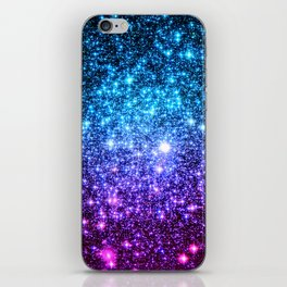 Glitter Galaxy Stars : Turquoise Blue Purple Hot Pink Ombre iPhone Skin