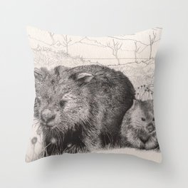 Path to wombat pool Throw Pillow