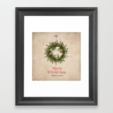Vintage Merry Christmas Wreath Framed Art Print