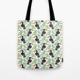 Watercolor green black yellow toucan bird floral Tote Bag