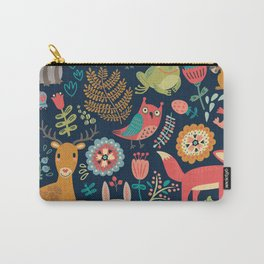 Blue Woodland Critters Pattern Carry-All Pouch