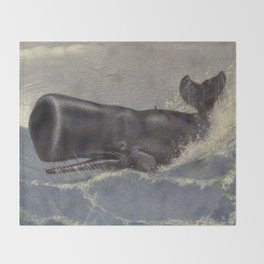 Vintage Sperm Whale Painting (1909) Throw Blanket