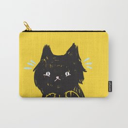 Scaredy Cat - Cute scared black kitty cat illustration Carry-All Pouch