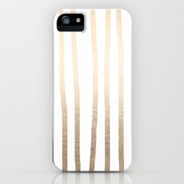 Simply Drawn Vertical Stripes in White Gold Sands iPhone Case