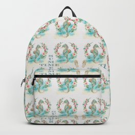 Watercolour Tropical Flowers Wreath Seahorses Summer Time Backpack