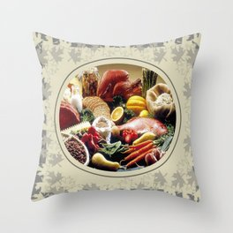 Thanksgiving Dinner and Autumn Decoration. Throw Pillow
