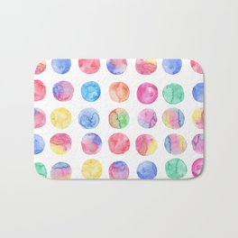 Artistic hand painted pink blue green watercolor brush strokes polka dots Bath Mat