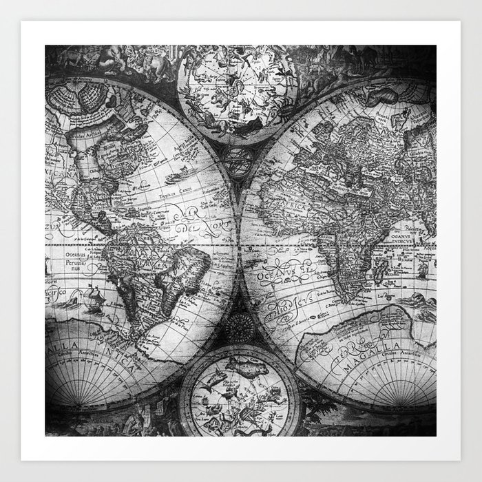 World Map Antique Vintage Black And White Art Print By Naturemagick - Black and white vintage world map