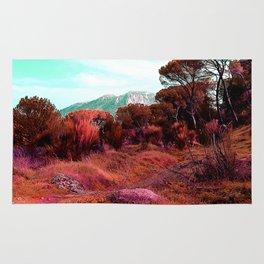 Red bright pink and orange alien landscape Rug
