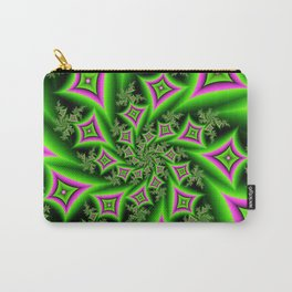 Green And Pink Shapes Fractal Carry-All Pouch
