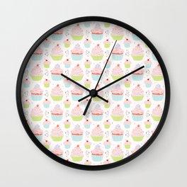 Pastel Cupcakes Food Vector Pattern Wall Clock