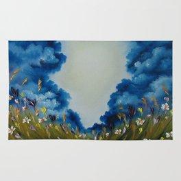 Sky Break, Skyscape, Landscape, Field of Flowers, Wild Flowers Rug